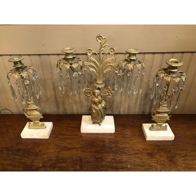 1800s Cast Brass Girandoles With Crystal Pendants - Set of 3 For Sale - Image 13 of 13