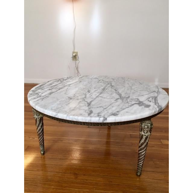 Round Marble Top Greek Key Patterned Coffee Table - Image 6 of 6