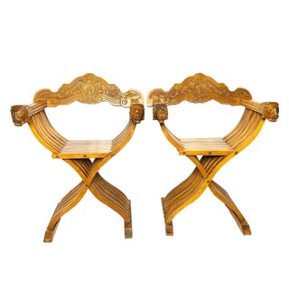 1950s Vintage Hand Carved Savonarola Style Dante Chairs- a Pair For Sale