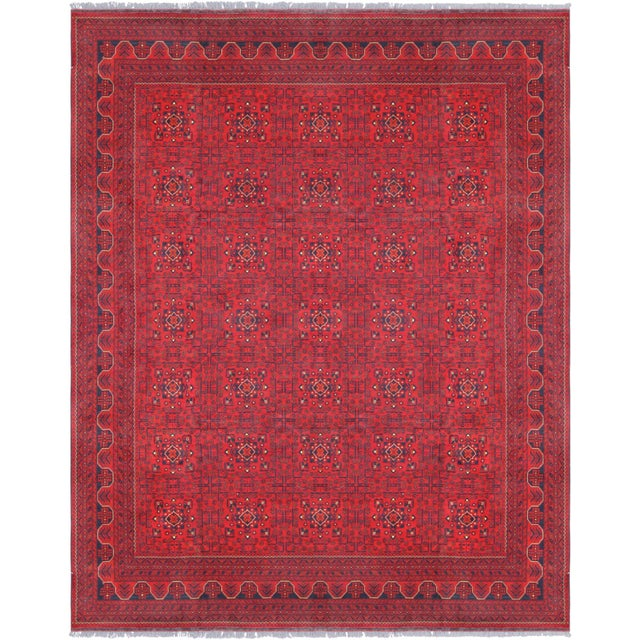 "Pasargad Yamoud Red Wool Area Rug- 9'10"" X 12' 9"" For Sale - Image 4 of 4"