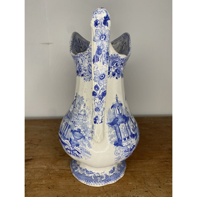 Mid 19th Century 19th Century English Blue and White Staffordshire Pitcher For Sale - Image 5 of 9
