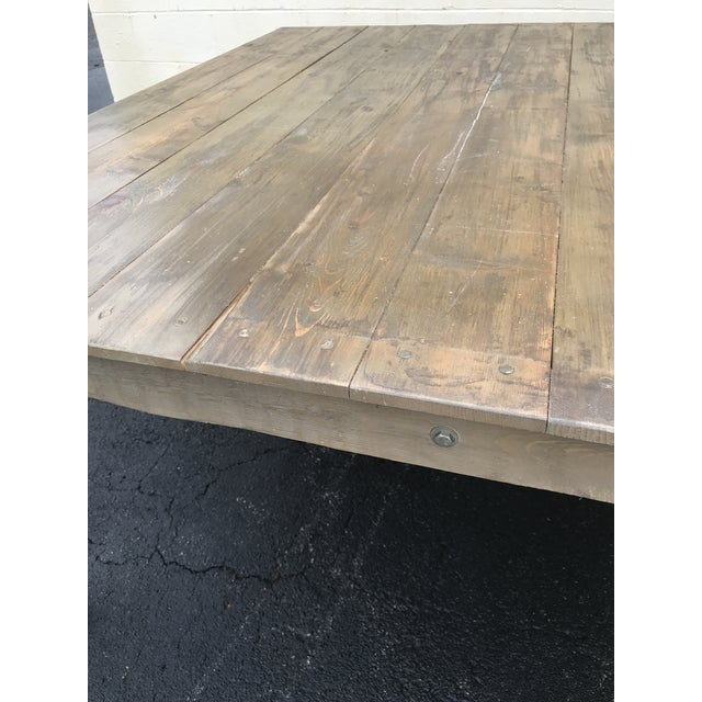 2010s Rustic Dove Gray Wood Square Farm Table For Sale - Image 5 of 11