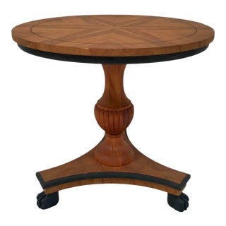 Italian Wood Pedestal Side Table With Claw Feet For Sale