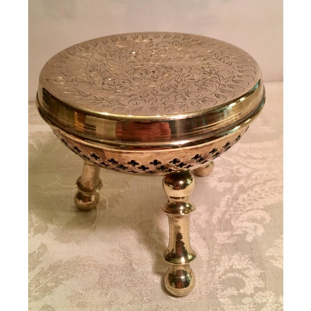 Moroccan Brass Warming Stool For Sale - Image 4 of 8