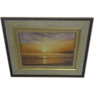"""Ocean at Sunset"", Pastel Painting by Frank Rupp For Sale"