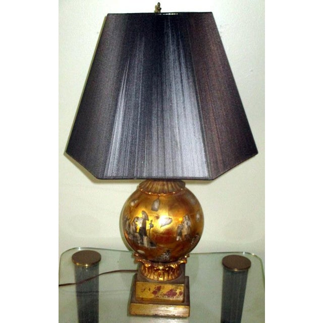 Vintage Italian Reverse Painted Table Lamp With Oriental Scenes For Sale - Image 13 of 13