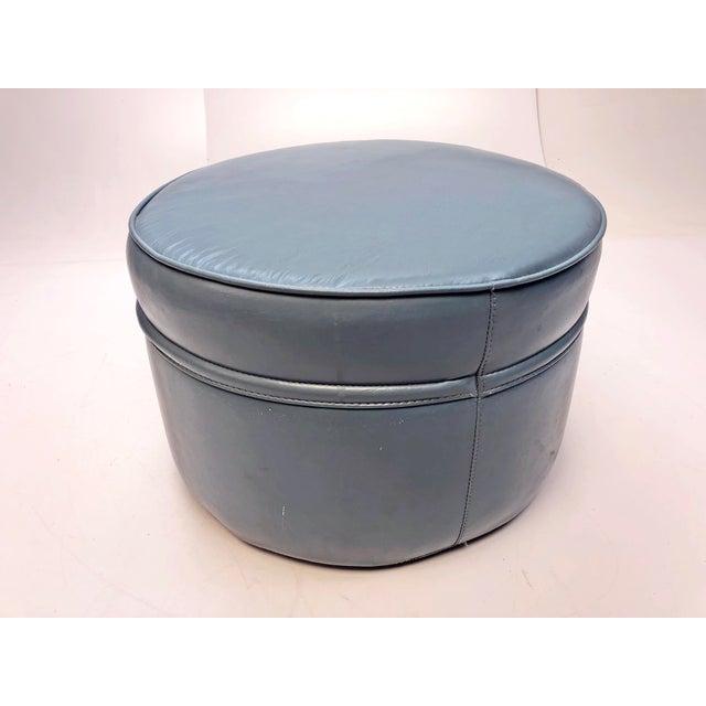 Plastic Vintage Mid Century Blue Vinyl Round Foot Stool Ottoman For Sale - Image 7 of 12