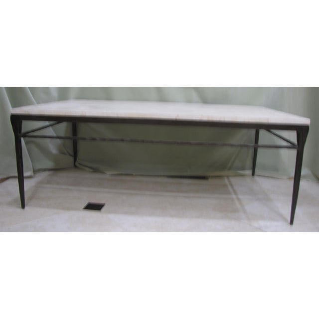 Bernhardt Wrought Iron Natural Stone Coffee Table - Image 2 of 4