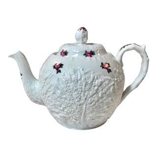 Vintage Spode Bridal Rose Pattern Cabbage Form Teapot For Sale