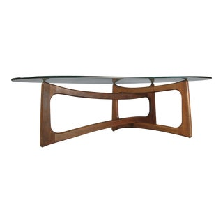 Mid-Century Modern Sculptural Walnut and Glass Cocktail Table by Adrian Pearsall For Sale