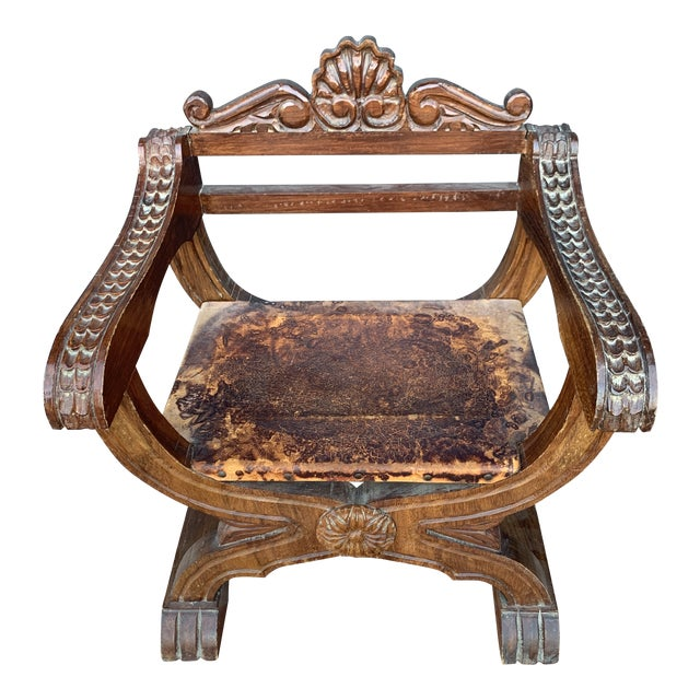 Antique English Mahogony and Patina Leather Throne Chair For Sale