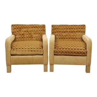 Milo Baughman Caramel Velvet Chairs, Pair