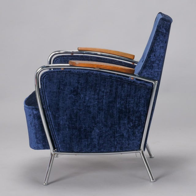 Blue Pair of Bauhaus Steel and Wood Club Chairs For Sale - Image 8 of 10