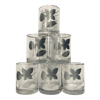 Mid-Century Modern Libbey Silver Leaves Whiskey Glasses - Set of 6 For Sale