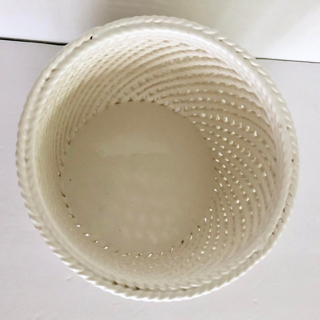 Ceramic Vintage White Ceramic Lattice Flower Pot For Sale - Image 7 of 11
