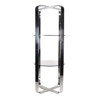 Mid-Century Smoked Glass & Chrome Etagère, 1970s For Sale