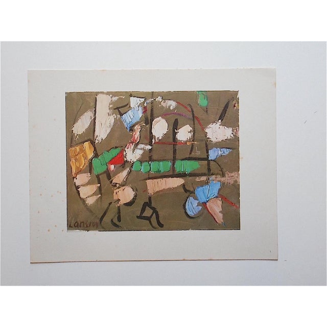 This mid 20th century lithograph (offset) depicts an Expressionist image by listed artist Andre Lanskoy (France, Russian...