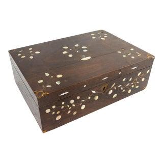 Antique Americana Folk Art Rosewood Writing Box For Sale