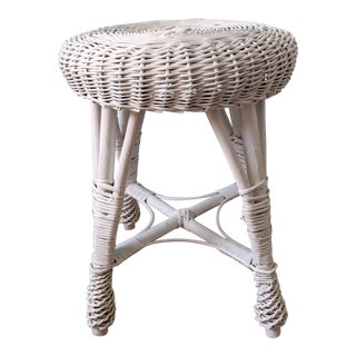 Vintage Franco Albini Style Boho Chic White Wicker Bamboo Stool For Sale