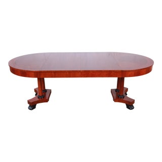 Baker Furniture Palladian Collection Neoclassical Cherry Wood Extension Dining Table For Sale