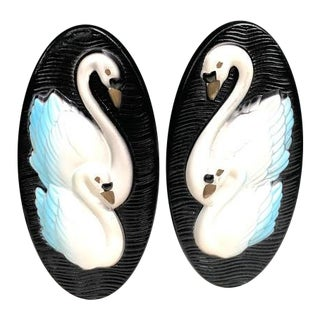 Miller Chalkware Ceramic Swan Wall Plaques - Set of 2 For Sale
