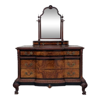 Venetian Baroque Dresser With Mirror in Burl Walnut With Ebonized Details For Sale