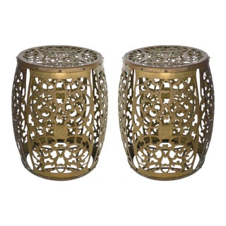 Mid-Century Asian Inspired Vintage Brass Fretwork Chinosiere Garden Stools - a Pair For Sale