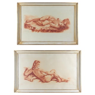 1930s Vintage French Nude Lithograph Prints - A Pair For Sale