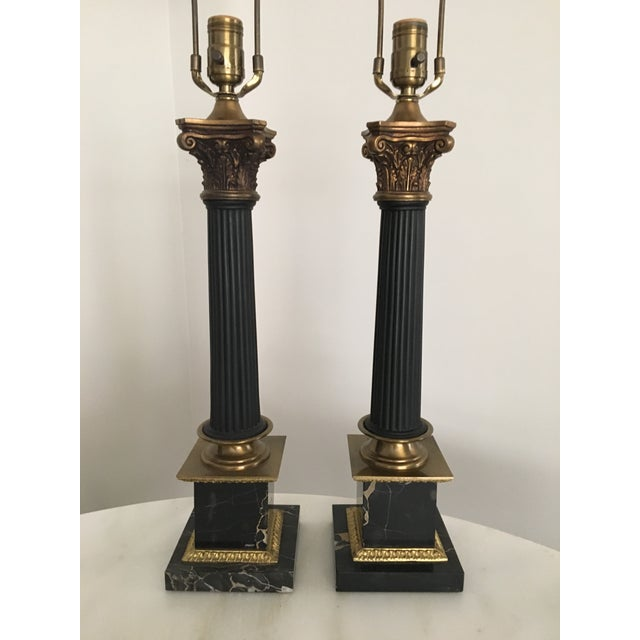 Vintage French Empire Style Brass Marble Table Lamps A Pair