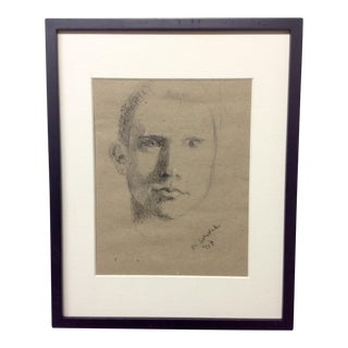 Mid Century Charcoal & Gauche Portrait by Alan Sutherland For Sale