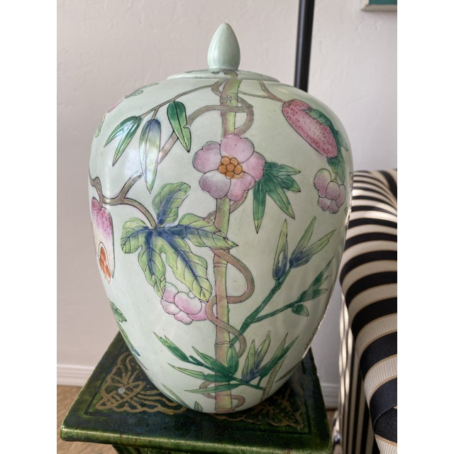Celadon Lided Chinoiserie Strawberry and Butterfly Ginger Jar For Sale - Image 8 of 13