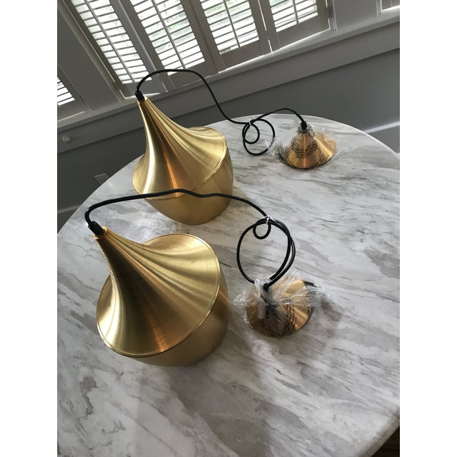 T. Dixon Brass Gold Beat Pendant Lights - A Pair - Image 3 of 5