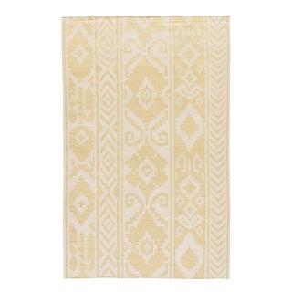 Jaipur Living Farid Handmade Ikat Yellow/ Cream Area Rug - 2′ × 3′ For Sale