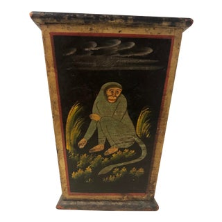 Vintage Chinoiserie Asian Tole Painted Monkeys Wooden Planter For Sale