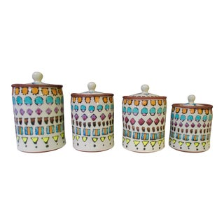 Hand Painted Italian Ceramic Canisters - Set of 4