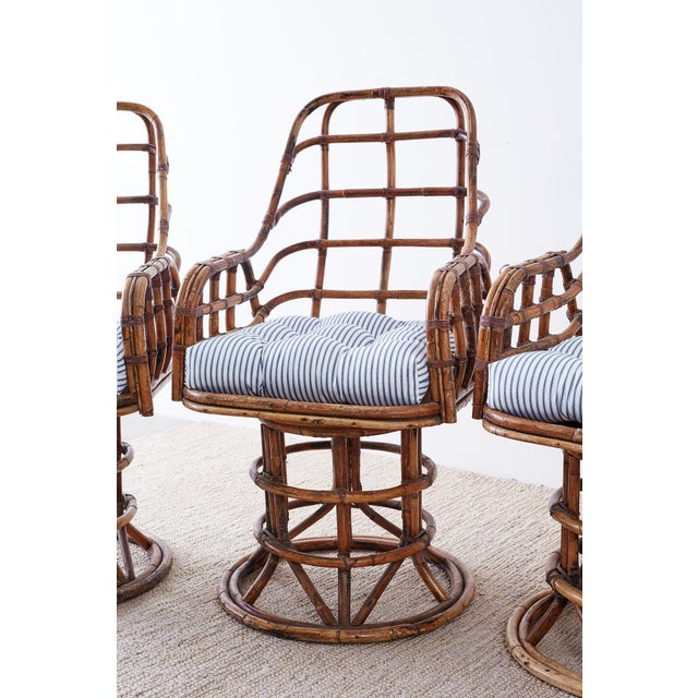 Franco Albini Style Bamboo Rattan Swivel Lounge Chairs For Sale - Image 11 of 13