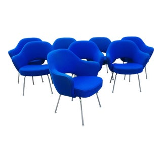 Blue Eero Saarinen for Knoll Executive Chairs - Set of 8 For Sale