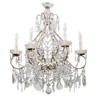 Italian Vintage Six-Light Crystal Chandelier With Scrolled Arms For Sale