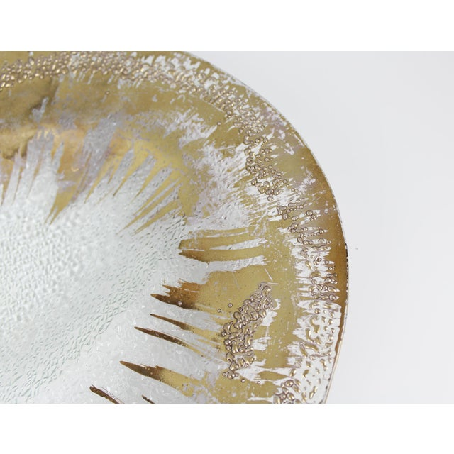 Dorothy Thorpe Dorothy Thorpe Glass Serving Tray Platter Gold Mid Century Starburst For Sale - Image 4 of 9