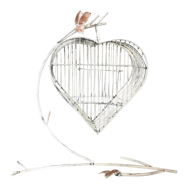 Vintage Heart Shaped Bird Cage on a Stand - Image 1 of 4