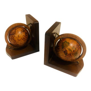 1980s Vintage Italian Wood Globe Bookends- A Pair For Sale