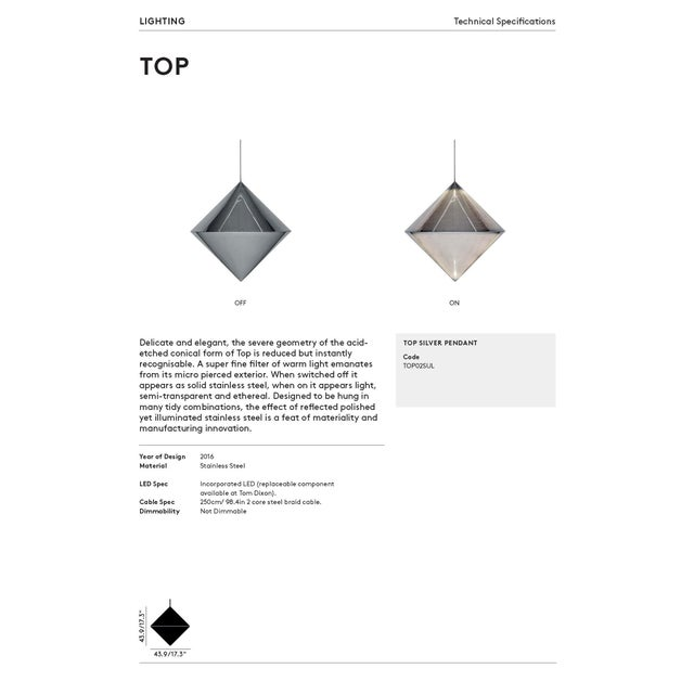 Silver Tom Dixon Top Pendant For Sale - Image 8 of 10
