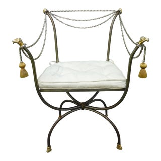 1970s Neoclassical Brass and Steel Savonarola Chair For Sale