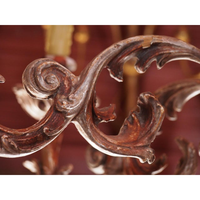 Giltwood Mid 20th century Italian Wood Chandelier For Sale - Image 7 of 8
