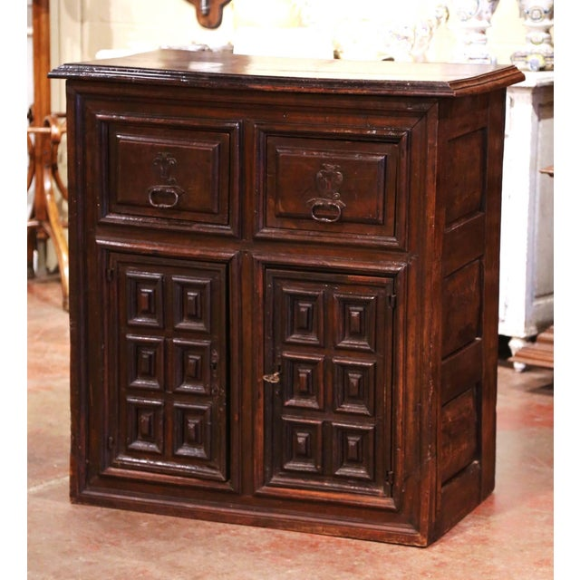 17th Century Spanish Catalan Carved Walnut Two-Door Buffet Cabinet For Sale - Image 13 of 13