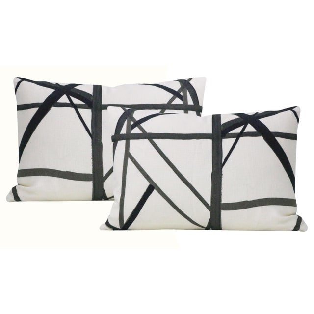 "2010s 12"" X 18"" Channels Ebony Lumbar Pillows - a Pair For Sale - Image 5 of 5"