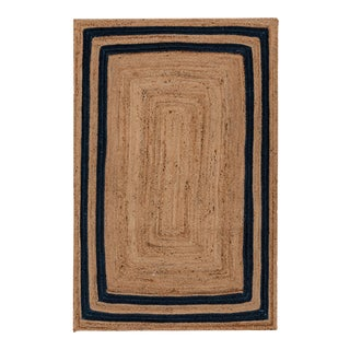 3'x5' Navy Blue Jute Braided Rectangle Boho Chic Rug For Sale