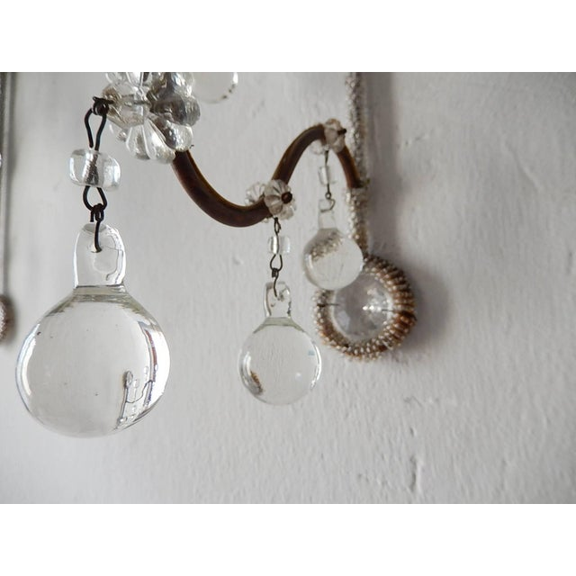 French Rare Micro Beaded Murano Balls Sconces, circa 1920 For Sale In Los Angeles - Image 6 of 8