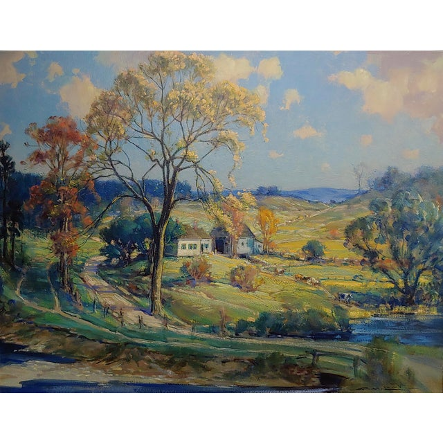 Country New England Country Side Landscape Oil Painting For Sale - Image 3 of 10