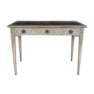 19th Century Neoclassical Trompe l'Oeil Decor Desk and Black Leather Top For Sale